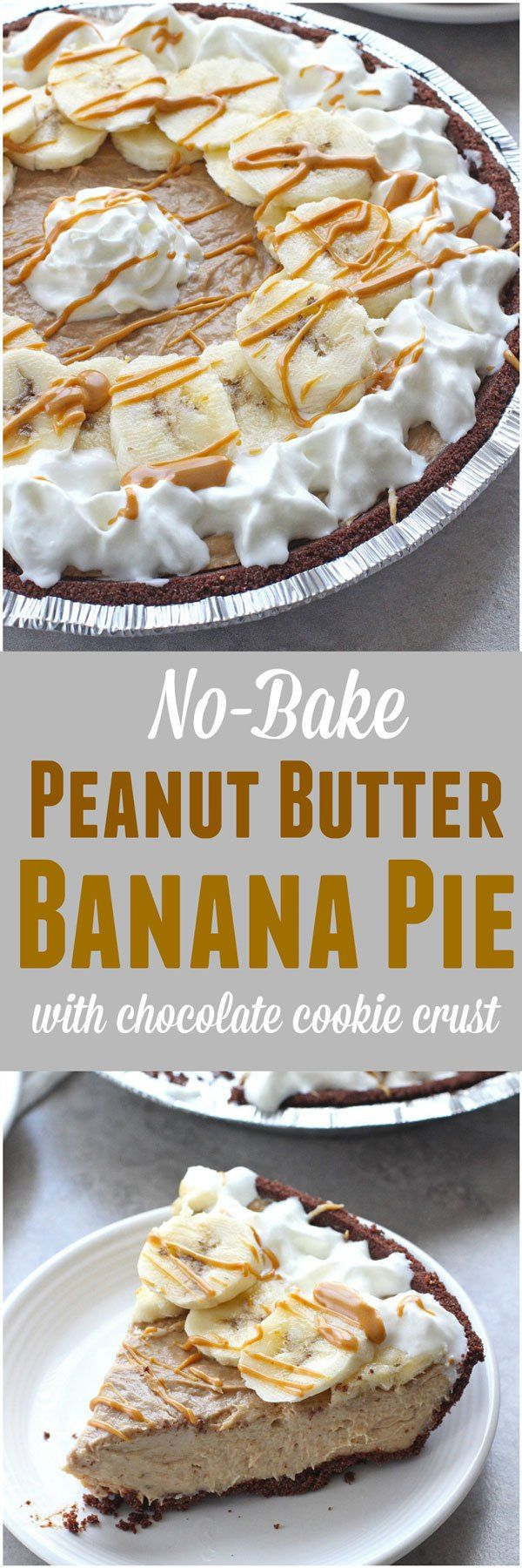 No-Bake Peanut Butter Banana Pie with Chocolate Cookie Crust - Katalyst Health #bananapie