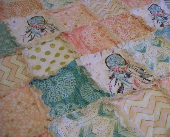 Dream Catcher Crib Bedding Prepossessing Crib Rag Quilt Coral Aqua Pink Dreamcatcher Dream Catcher Baby Inspiration Design