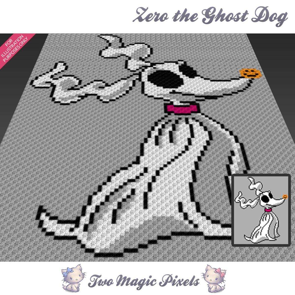 Zero The Ghost Dog C2C Crochet Graph | Decken