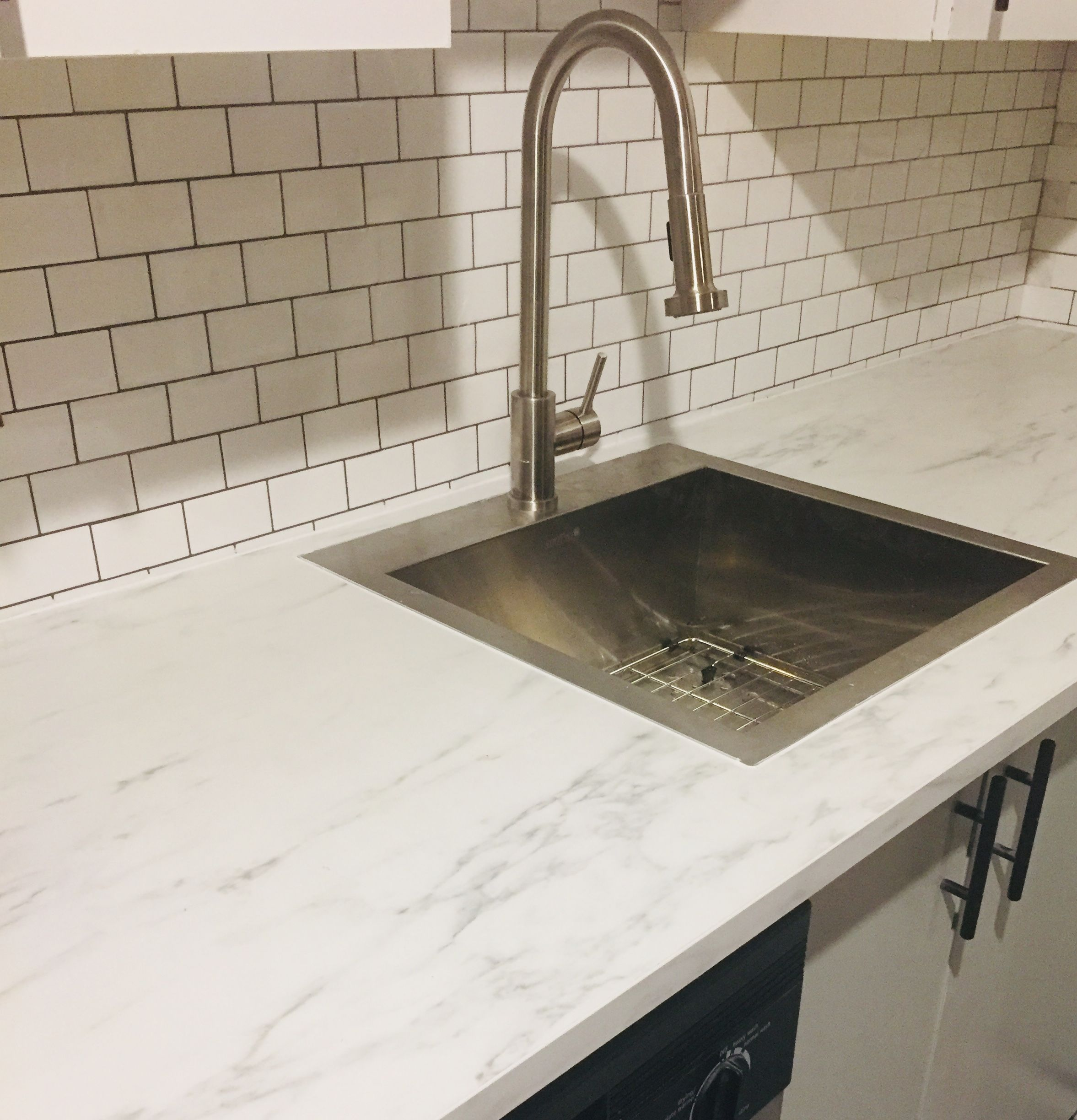 I Replaced The Old Countertop With The Ikea Ekbacken White Marble