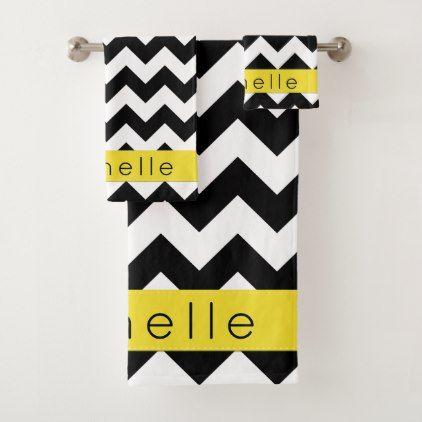 Your Name Zigzag Chevron Pattern Black Yellow Bath Towel Set