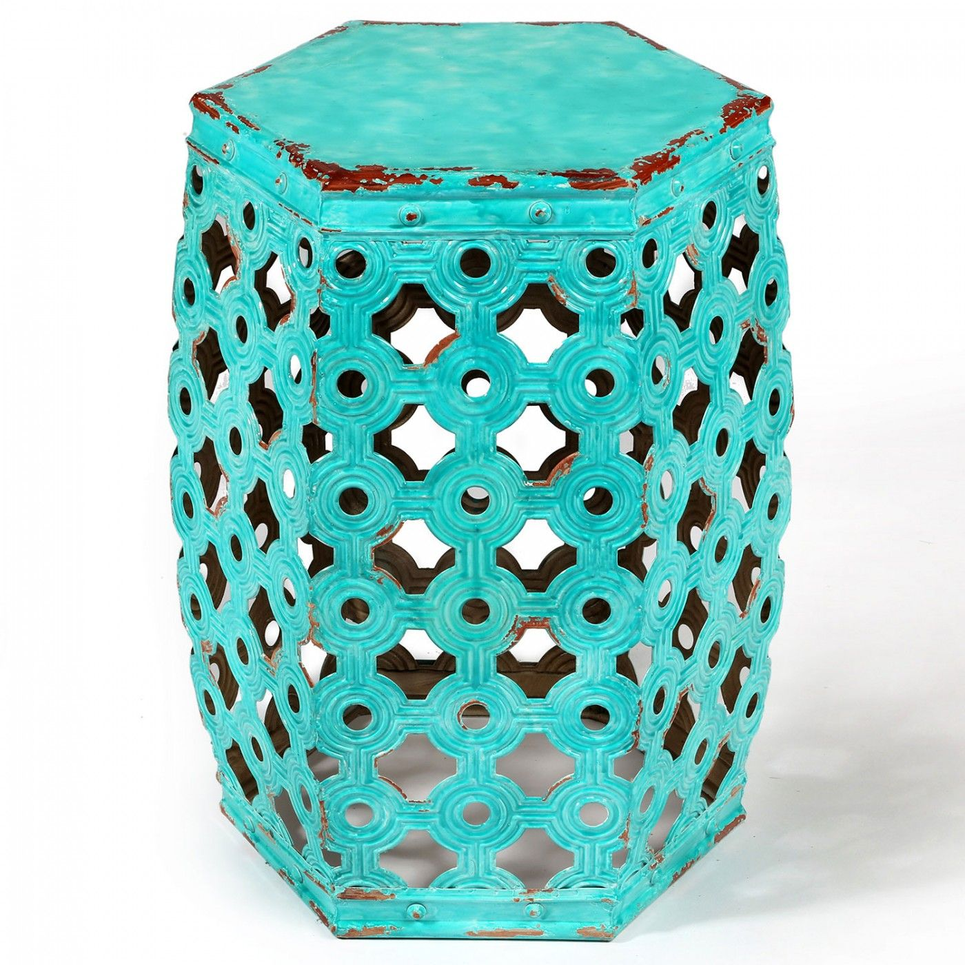 Hexagonal Pressed Metal Stool Aqua   Moroccan | Interiors Online   Furniture  Online U0026 Decorating Accessories