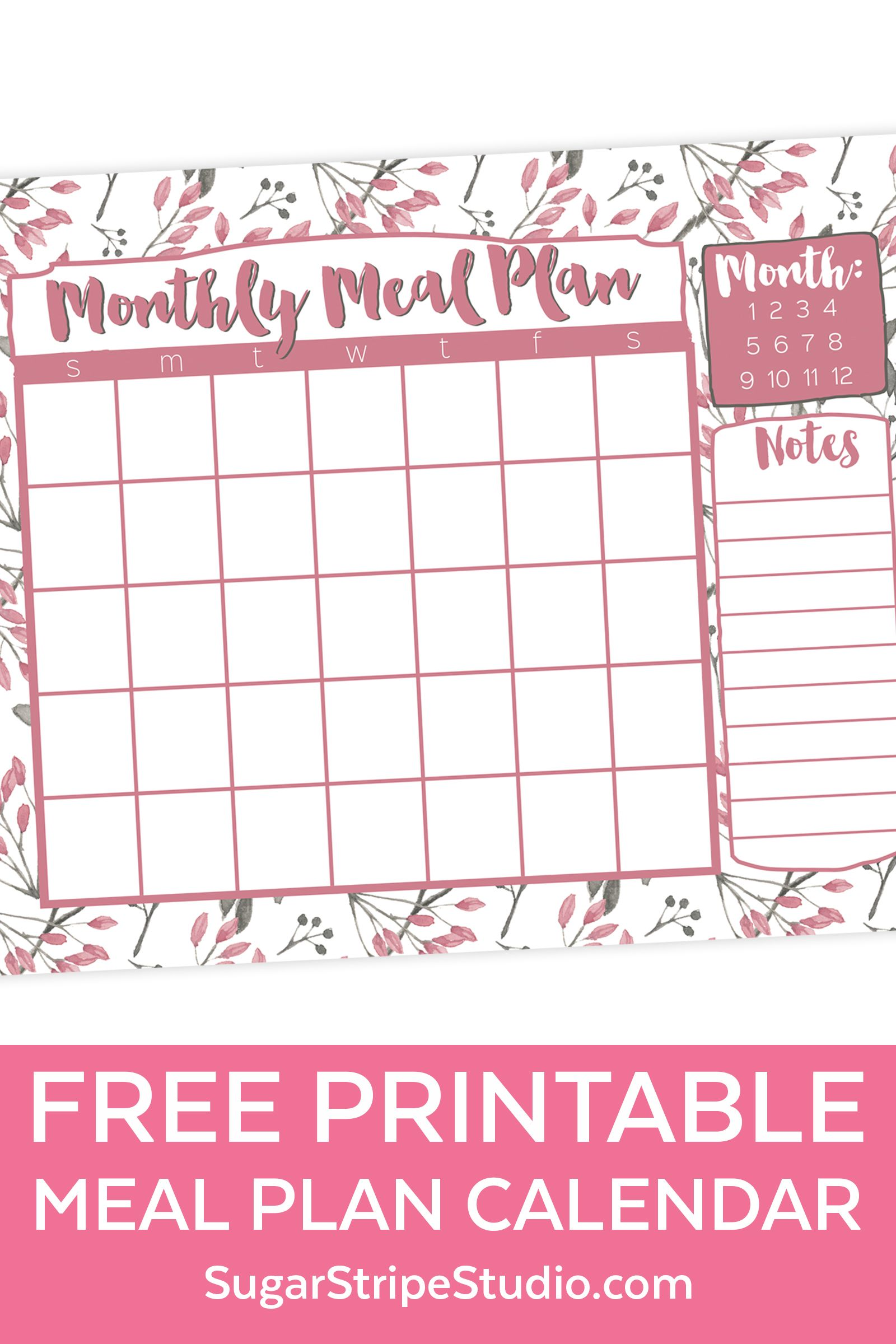 Free Monthly Meal Plan Calendar Printable Meal Planning