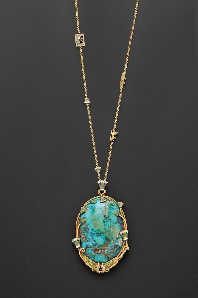 Egyptian revival 18kt gold turquoise and enamel pendant necklace egyptian revival 18kt gold turquoise and enamel pendant necklace audiocablefo
