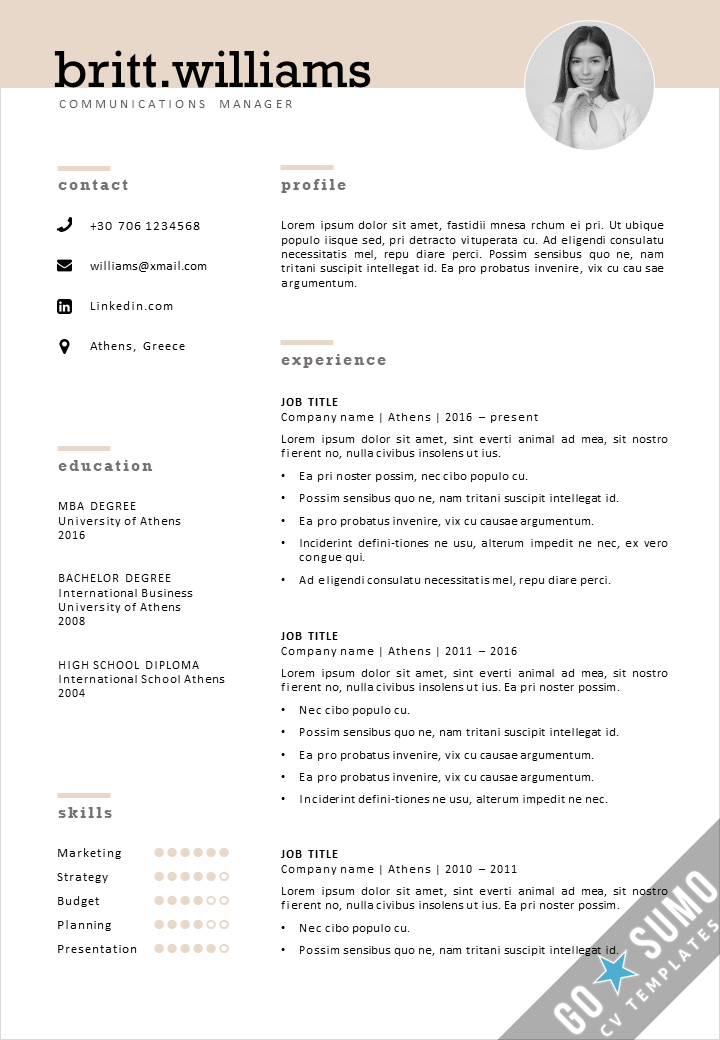 Cv Template Athens Elegant Cv Template For Word By Gosumo Cv Template Cover Letter Template Templates