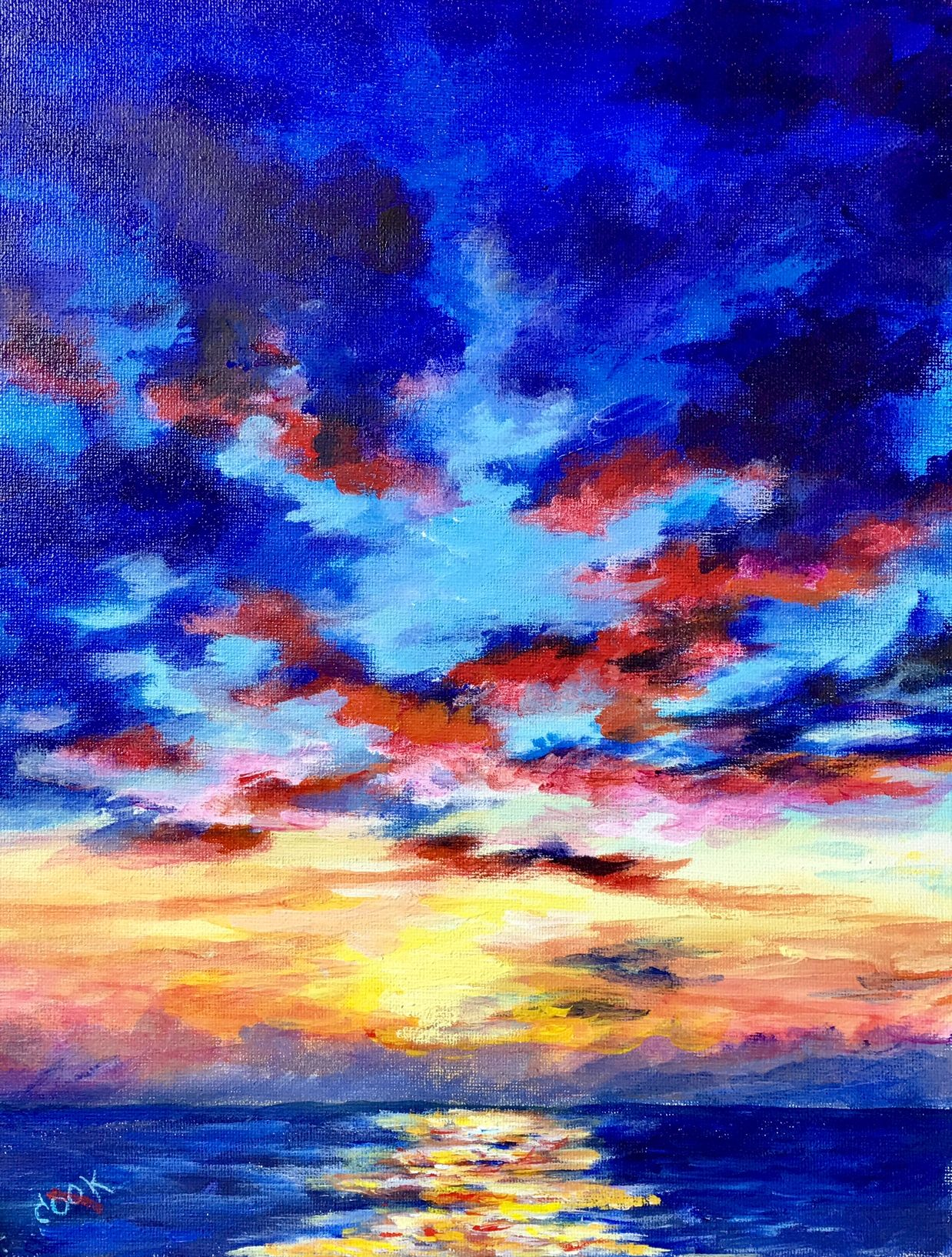 SUNSET AT SEA is this weeks (april 27) release for our VLL subscribing members. this 11x14 acrylic tutorial is an in depth look at painting sky and water.