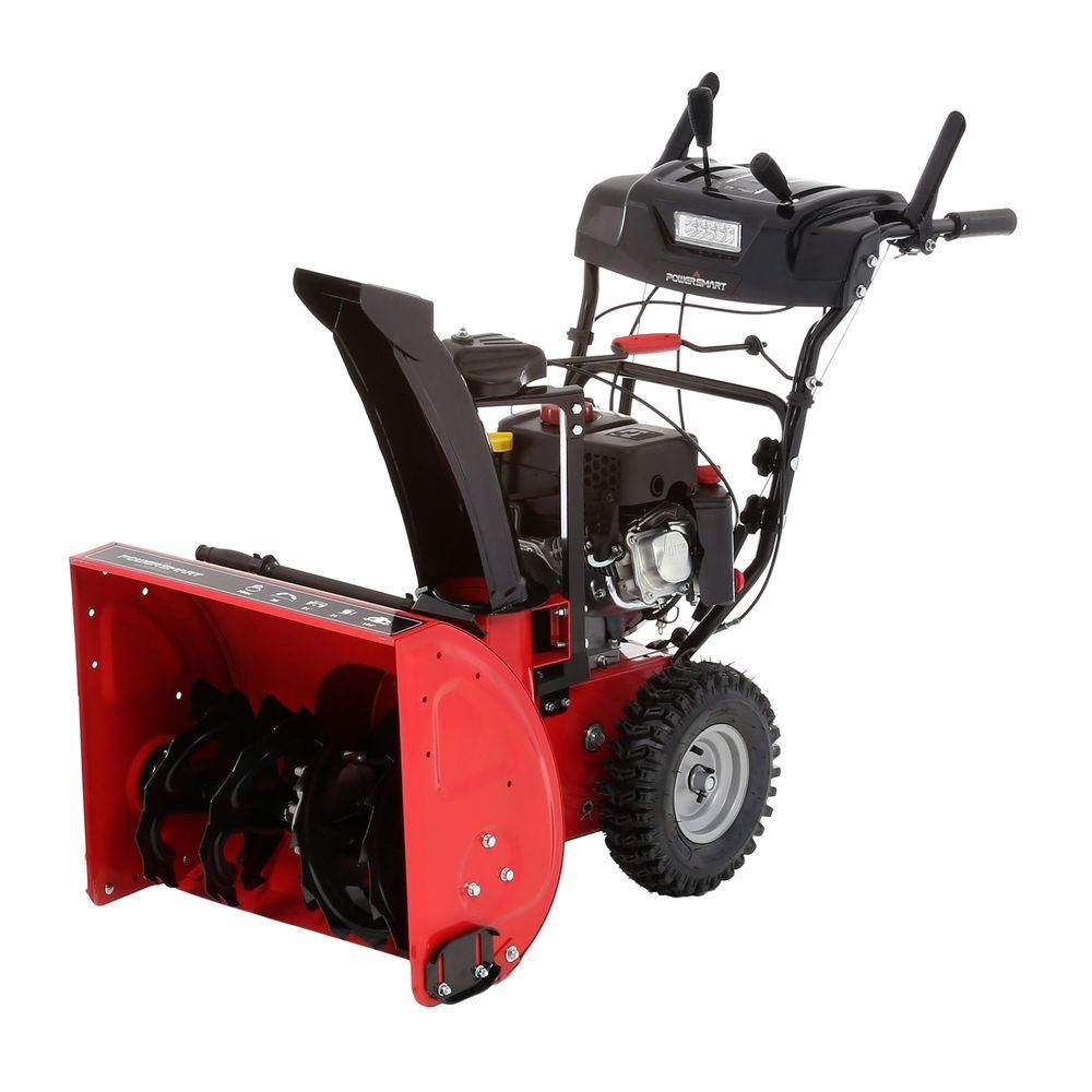 24 in 208cc 2stage gas snow blower with headlight snow