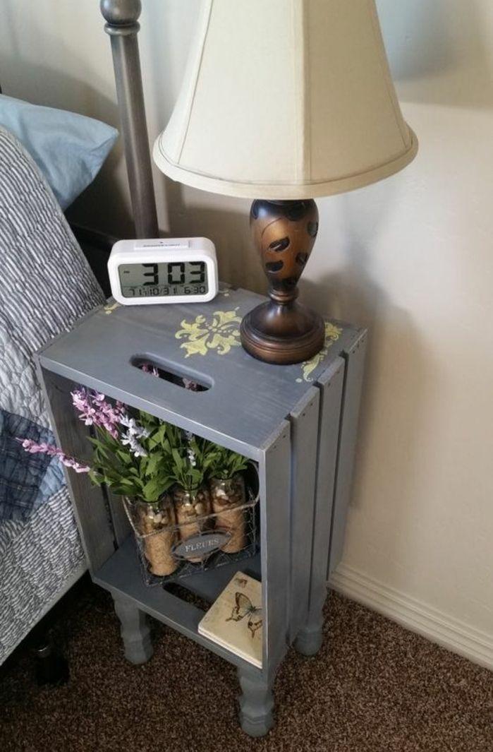 1001 id es et tutos pour fabriquer un meuble en cagette charmant diy crate nightstand diy. Black Bedroom Furniture Sets. Home Design Ideas