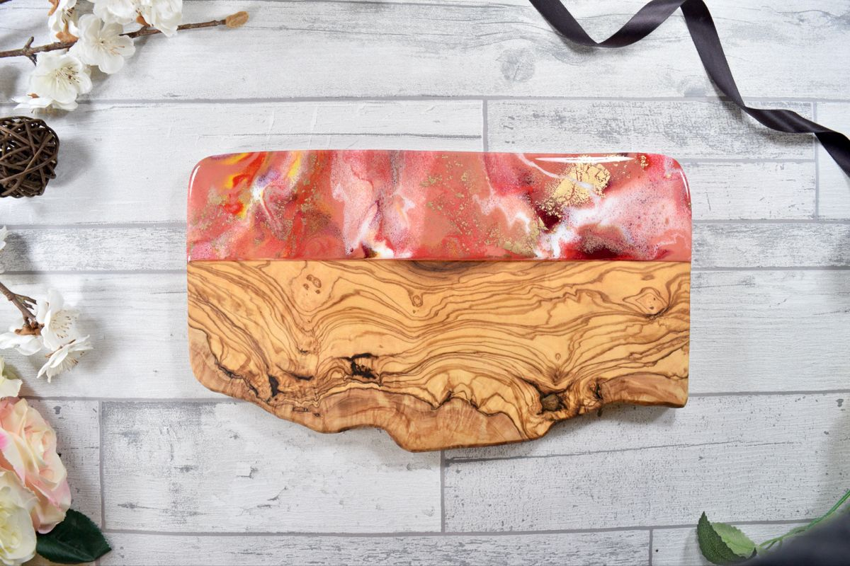 Coral Pink Resin Art on Olive Wood Board