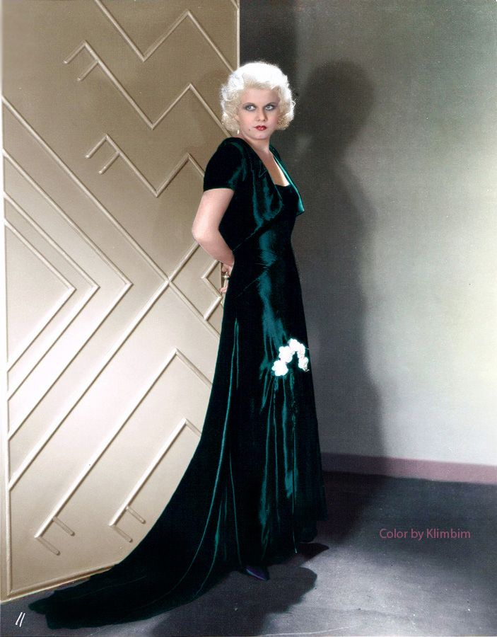 Image result for jean harlow satin dress colorized