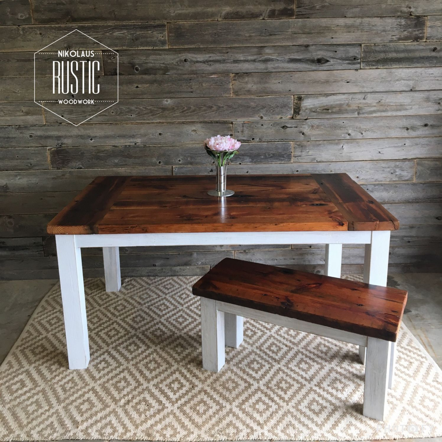 two tone reclaimed dining table inspiration farmhousestyle rh pinterest com