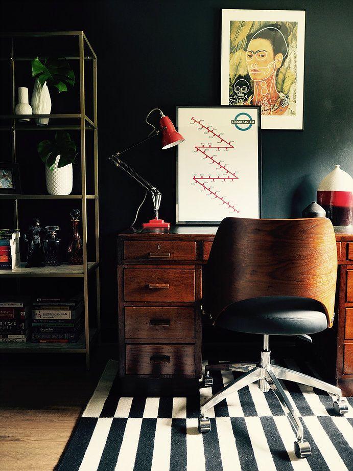 hot desk glamorous home office with farrow and ball railings rh pinterest com