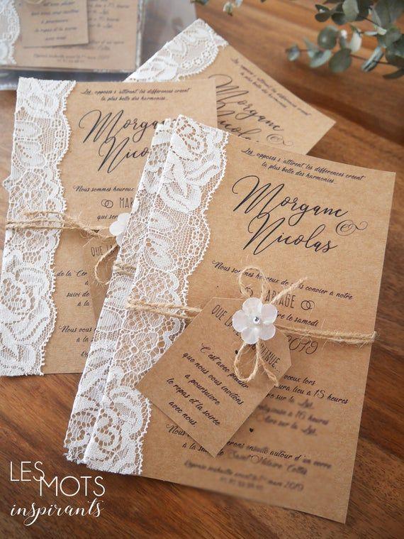 Faire-part mariage champêtre kraft dentelle, invitation mariage champêtre, papier kraft, avec dentelle, enveloppe comprise