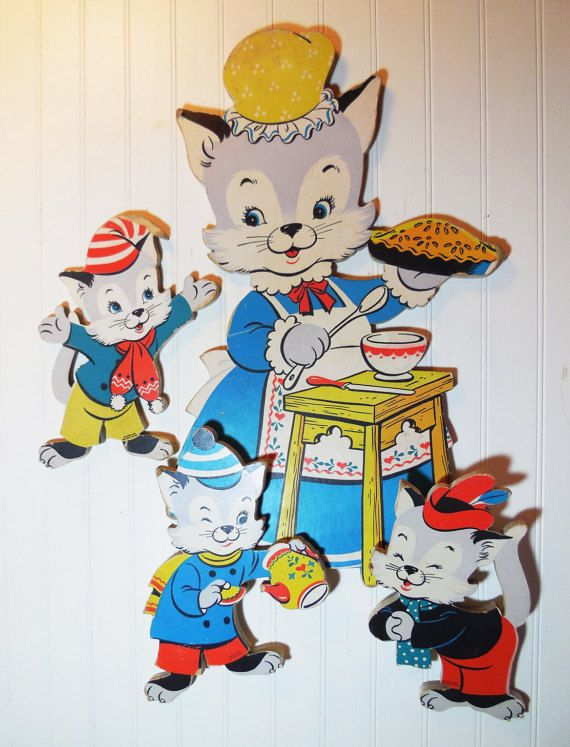 Vintage Nursery Wall Art Three Little Kittens Nursery Rhyme Vintage Nursery Nursery Wall Art Nursery Rhymes Wall Art