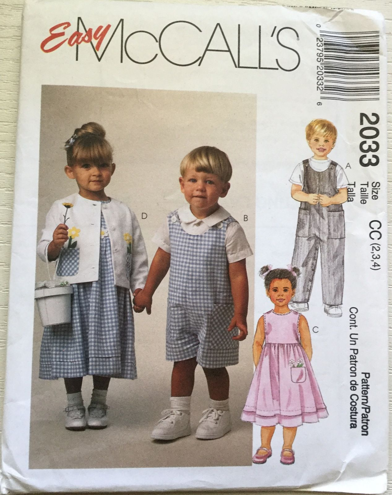 Pin by jeanns two girl pugs on childrens mccalls sewing boygirl rompers dress jacket and shirt mccalls 2033 toddler size 3 chest easy to sew sewing pattern uncut jeuxipadfo Choice Image