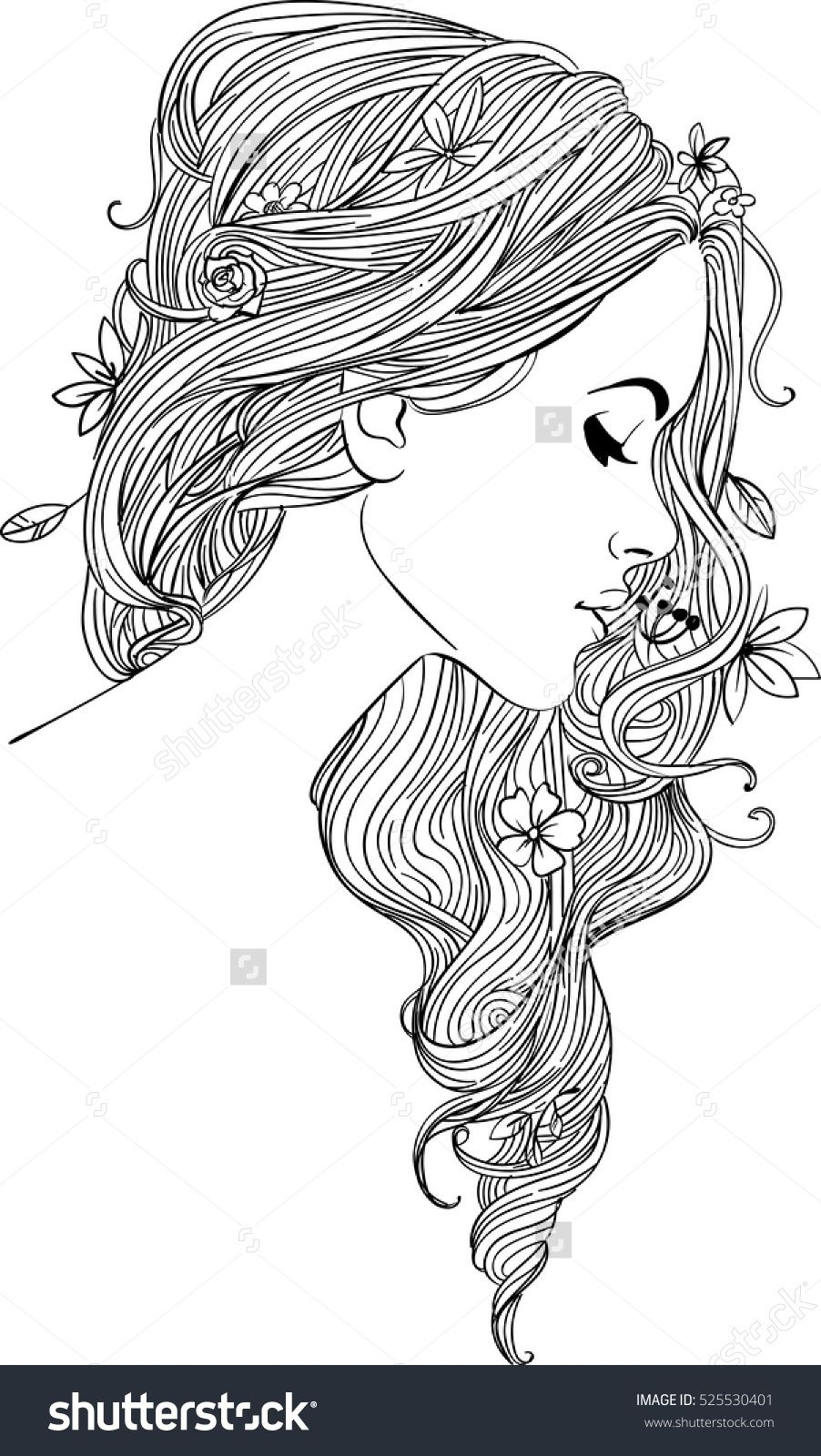 girl's profile | Coloring book art, Coloring pages, Cute coloring ...