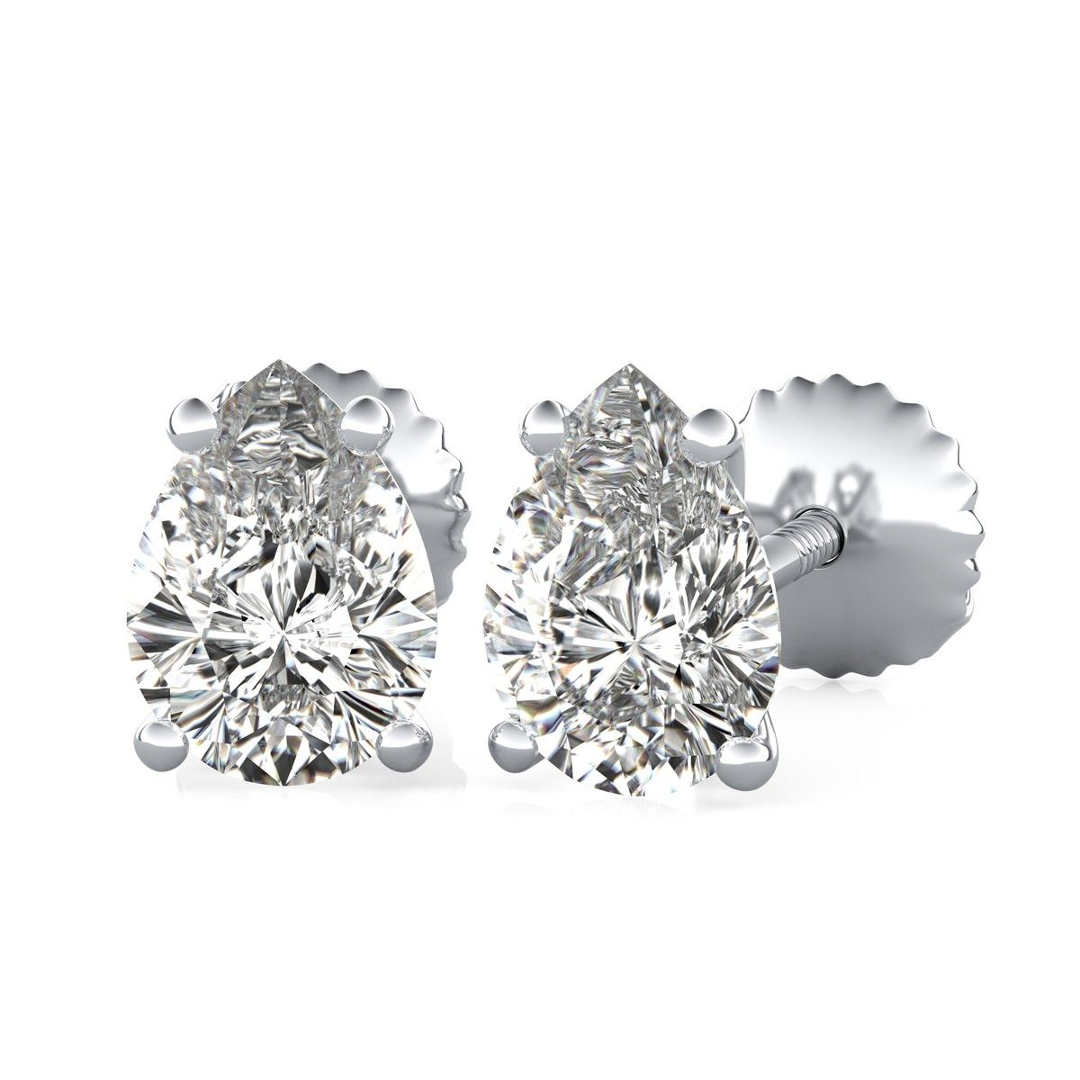 Four-Prong Stud Earrings with Pear Cut Diamonds by 90210Jewelry.com ❤