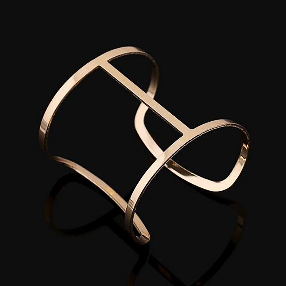 New punk designer gold silver alloy simple hollow out wide abstract
