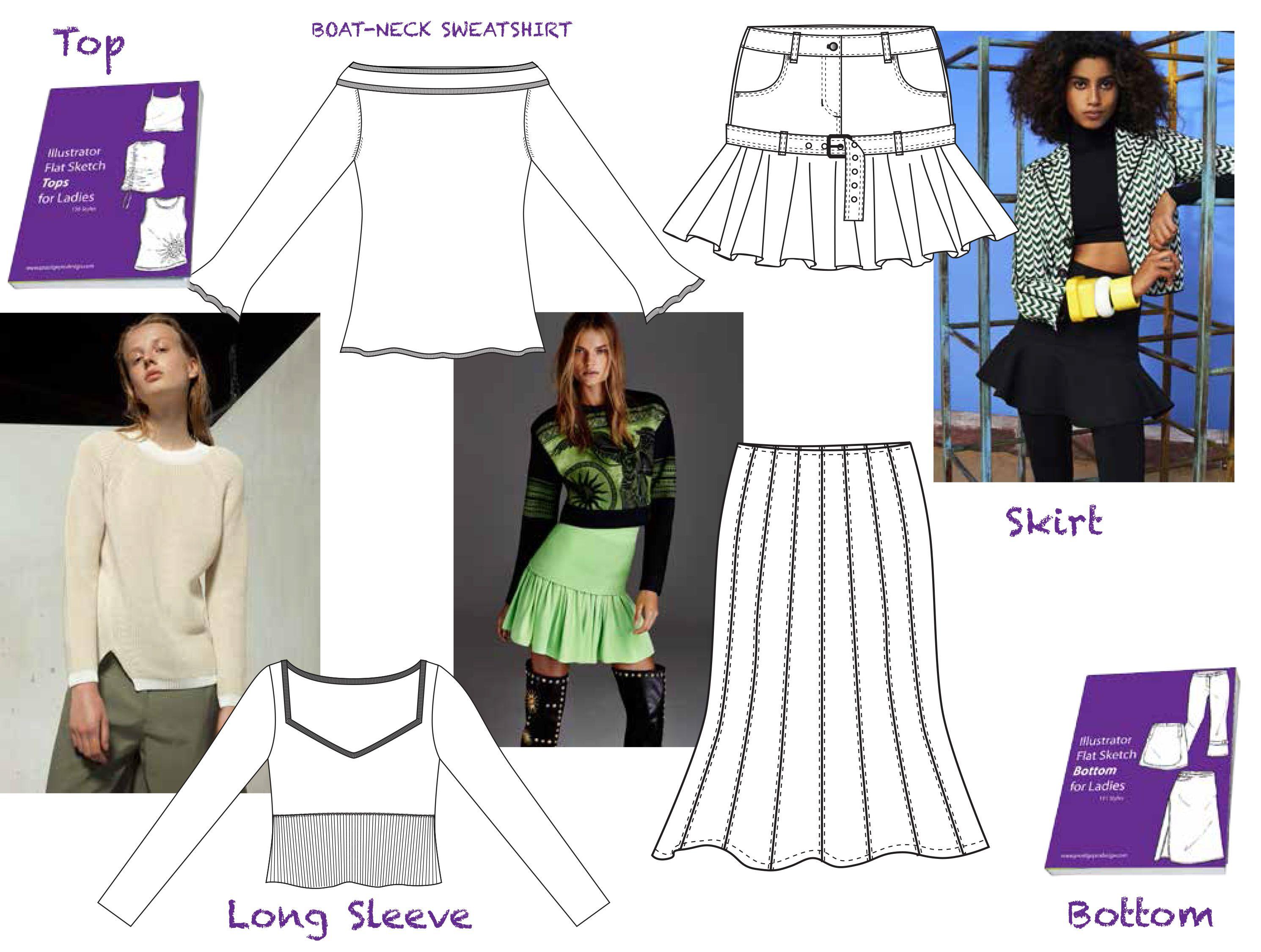 Tops fashion design sketches flat fashion sketch top 045 - Explore Fashion Flats Templates And More