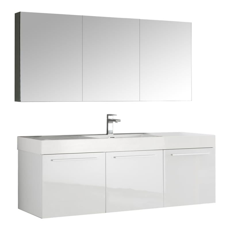 fresca fvn8093 senza 59 wall mounted vanity set with mdf cabinet rh pinterest com