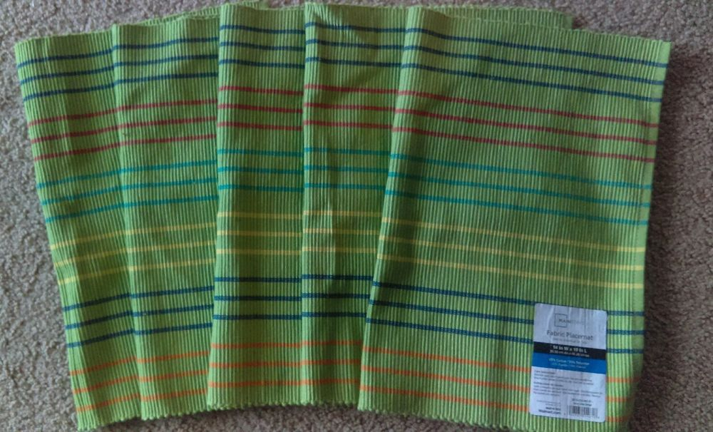 Set of 5 Placemats Mainstay Spicy Lime Stripe Fabric Placemats 14 in W x 19 in L #Mainstays