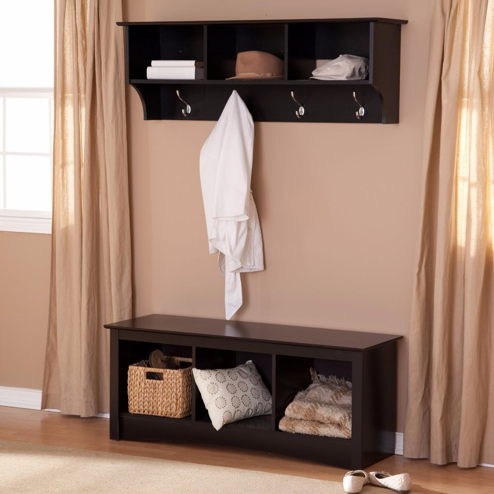Storage Bench Coat Rack Set Entryway Furniture Wood Black