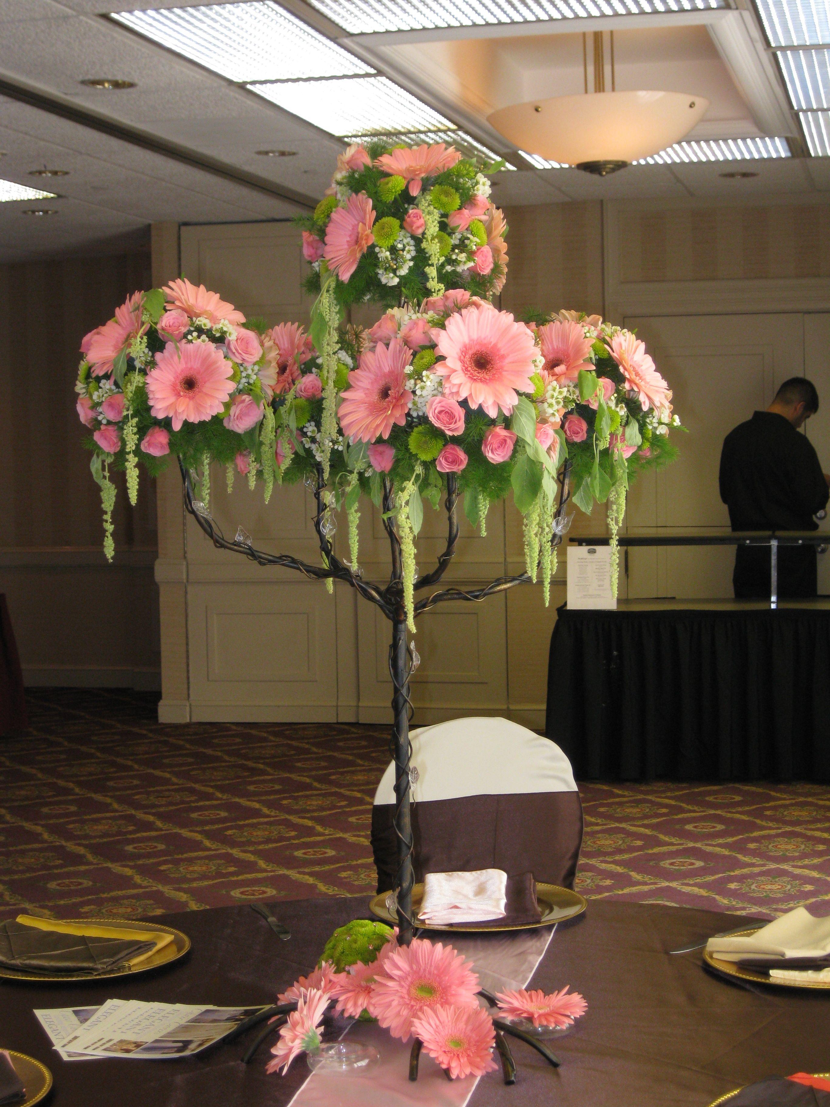 wedding centerpieces fake flowers%0A Tall wedding centerpiece more moss  less floral