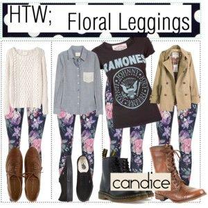 HTW;; Floral Leggings