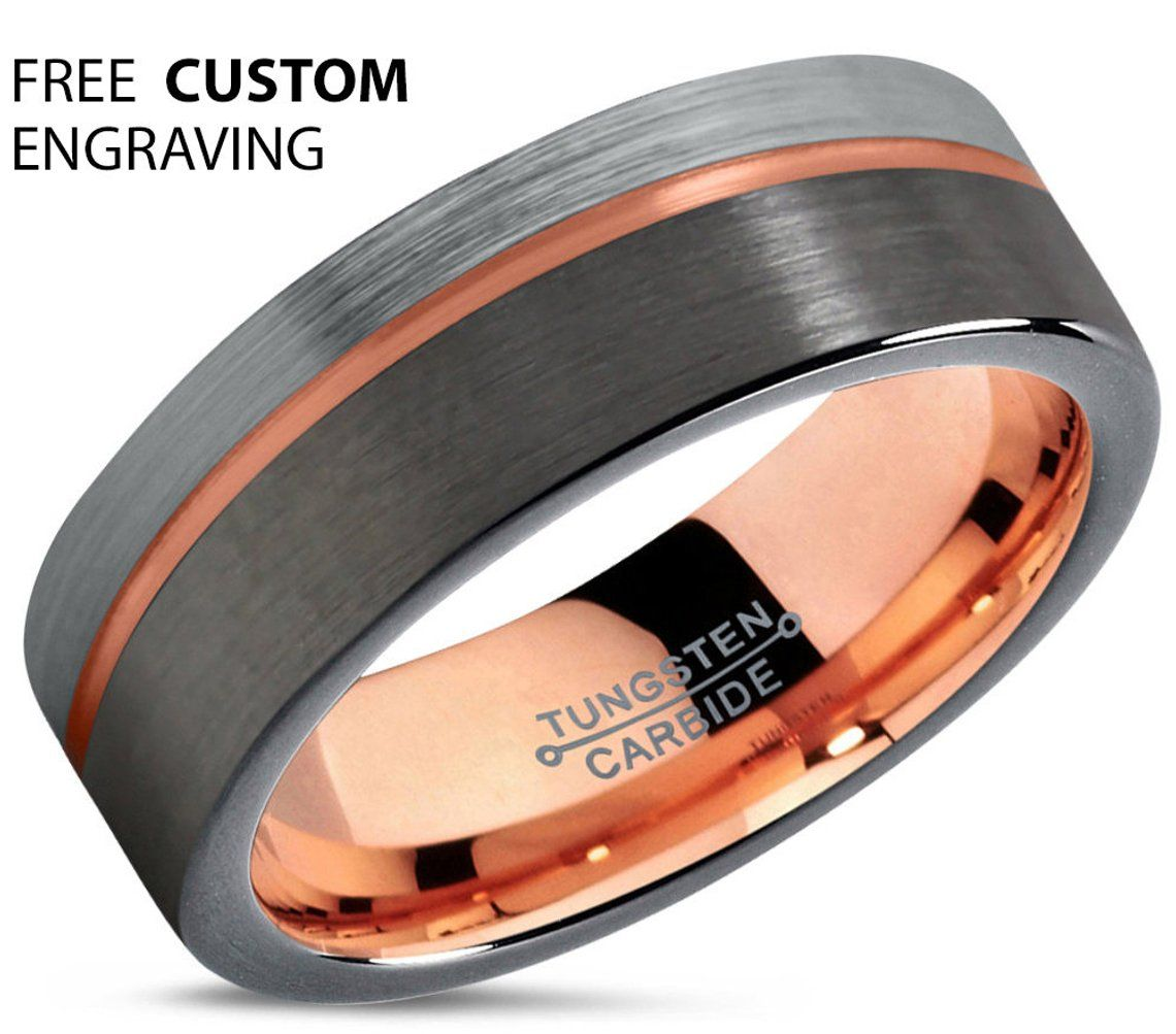 GUNMETAL Tungsten Ring, Mens Wedding Band, Rose Gold Ring