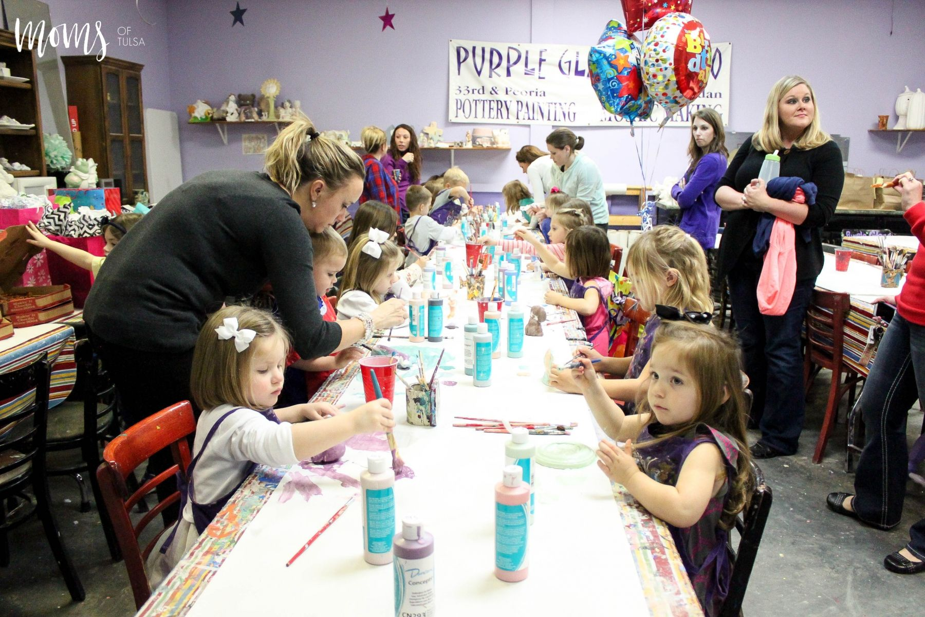 Purple Glaze Studios pottery painting birthday party in Tulsa