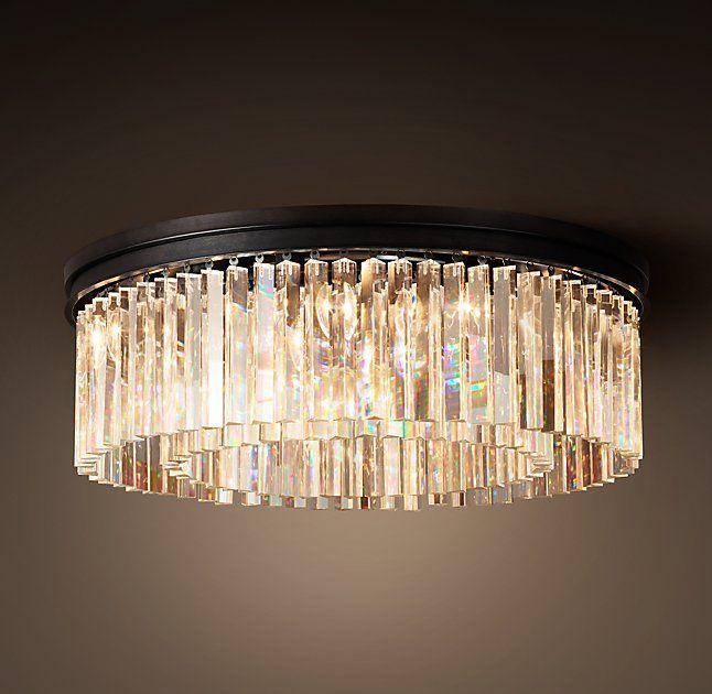 Rhys Clear Glass Prism Flushmount 31 Lighting Crystal Bathroom