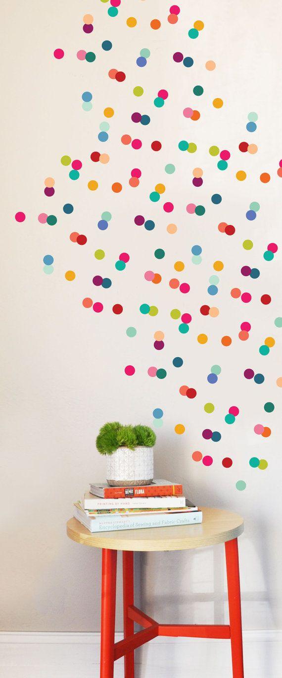 wall decal - rainbow tiny dots - wall sticker - room decor | wall