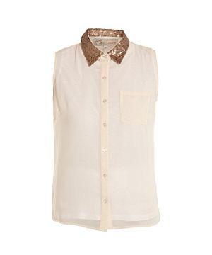 Cream (Cream) Cameo Rose Cream Sequin Collar Shirt | 263900713 | New Look