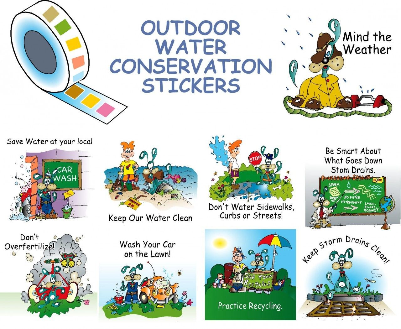 Roll Of Splash The Water Dog Outdoor Water Conservation Stickers