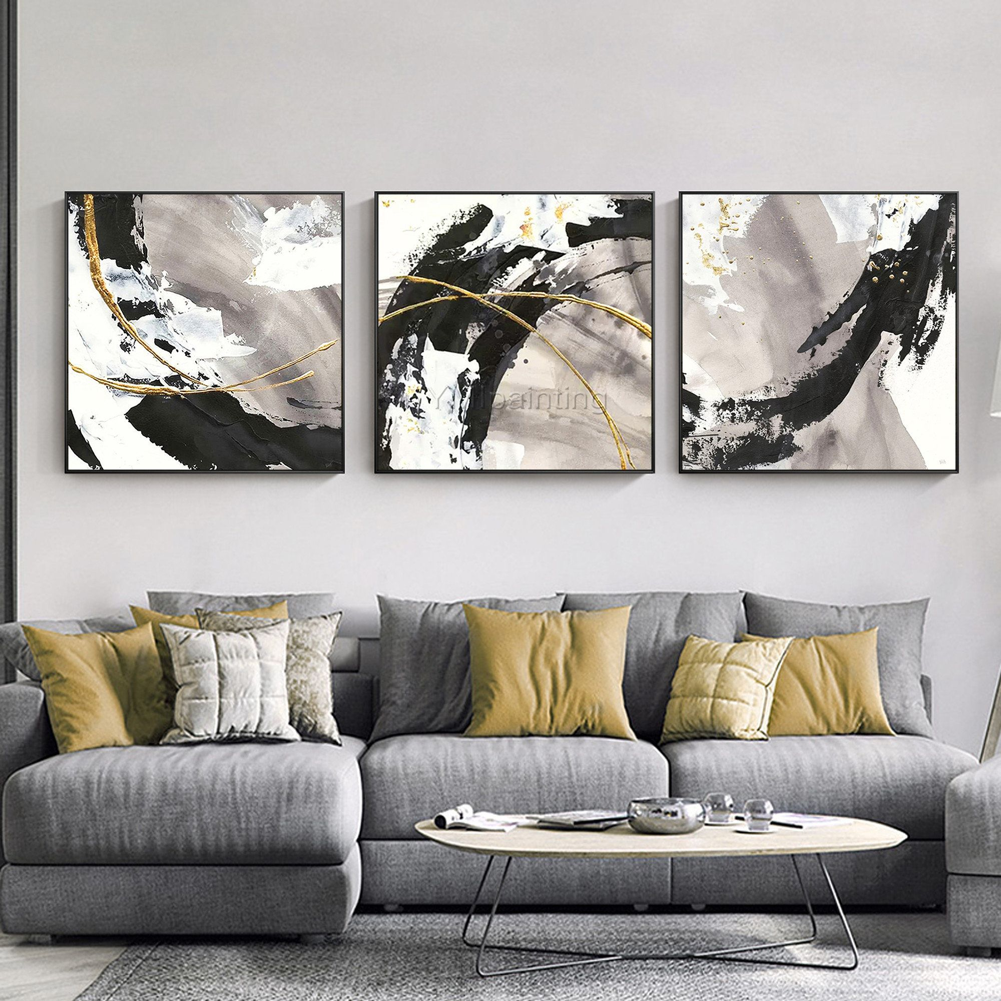 3 Pieces Gold Art Abstract Paintings On Canvas Set Of 3 Wall Etsy In 2020 Wall Art Pictures Canvas Art Wall Decor Multi Canvas Painting