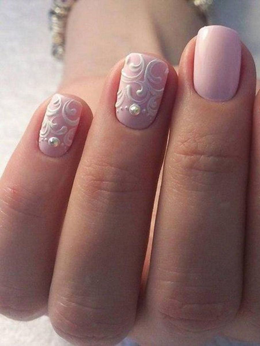 The Perfect Bridal Manicure Pale Pink Nails And Feminine White Nail