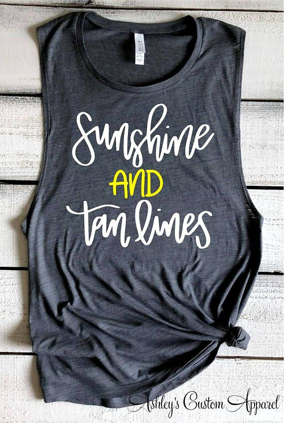 Sunshine and Tan Lines Summer Tank Tops Bella Flowy Muscle Tank Beach Shirts Summer Vacation Shirts Swimsuit Cover Up Beach Coverup Custom #summervacationstyle