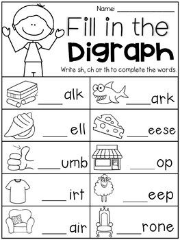 Digraph Worksheet Packet Ch Sh Th Wh Ph Teaching Phonics Phonics Kindergarten Kindergarten Worksheets Th digraph worksheets first grade