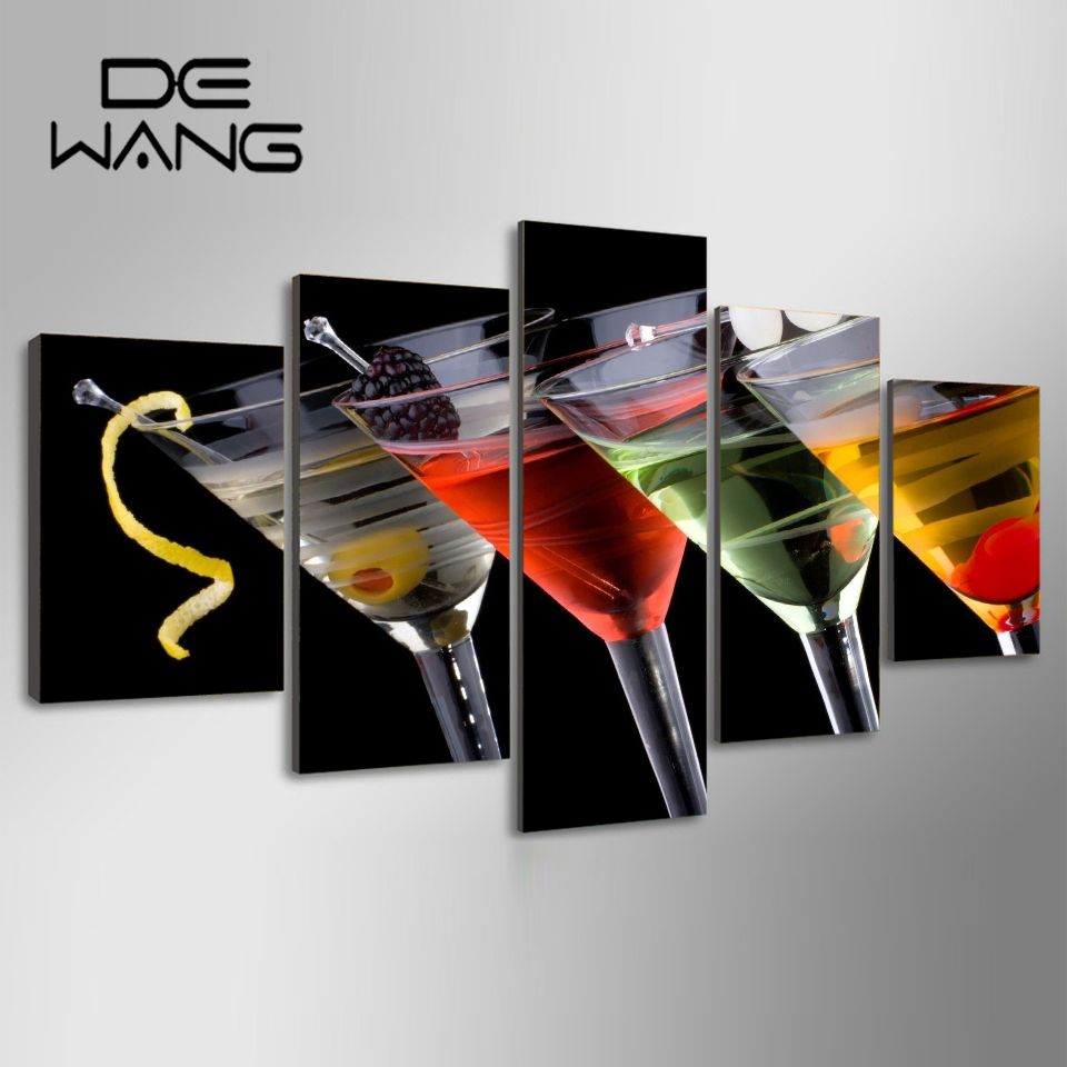 5 Panel Painting Cocktails Glasses Pictures Painting