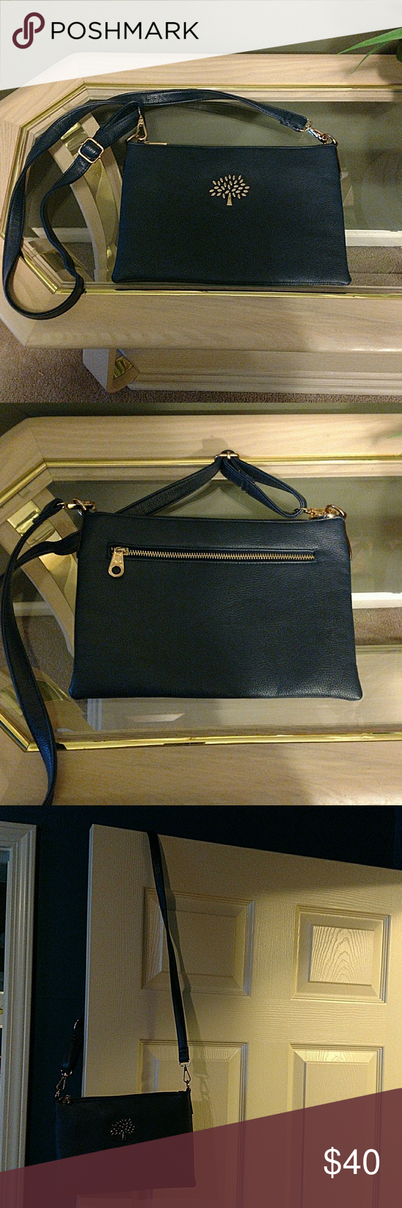 b7f30e4097 MULBERRY NAVY BLUE CROSSBODY BAG Mulberry Navy Blue Crossbody Bag. The  hardware is gold and