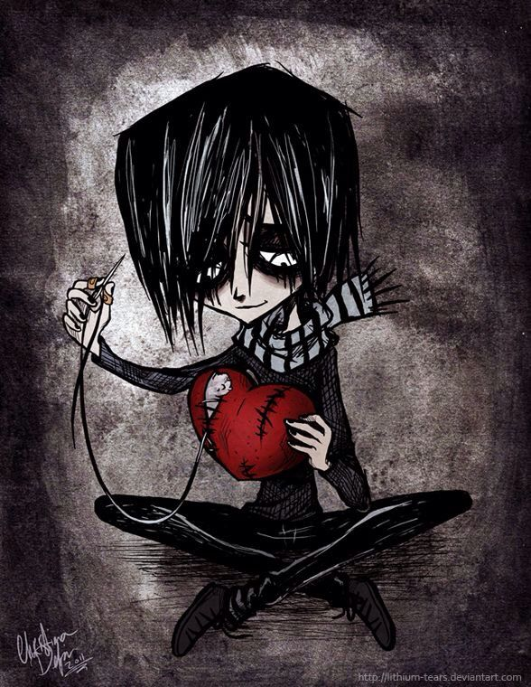 Anime boy,dark,broken heart,black emo,art, Emo art, Art