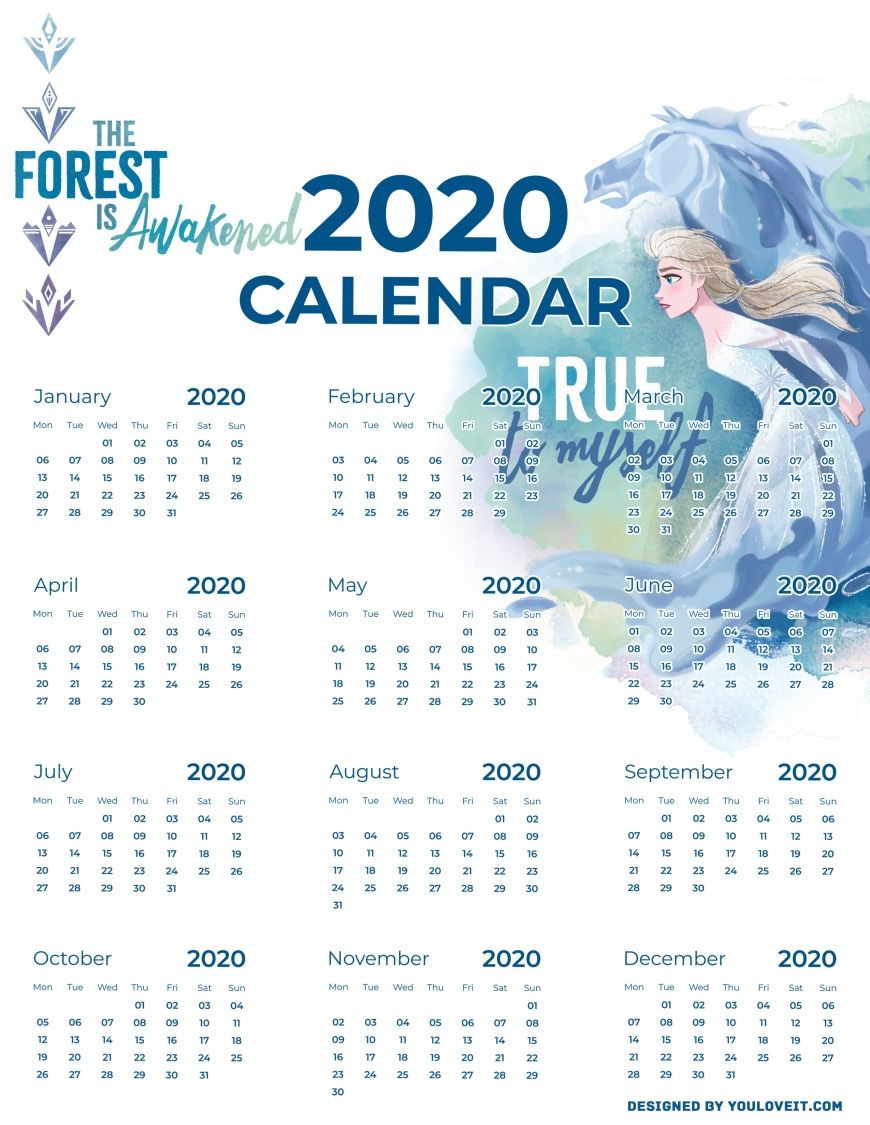 Frozen 2 free printable calendars 2020 in 2020 Frozen