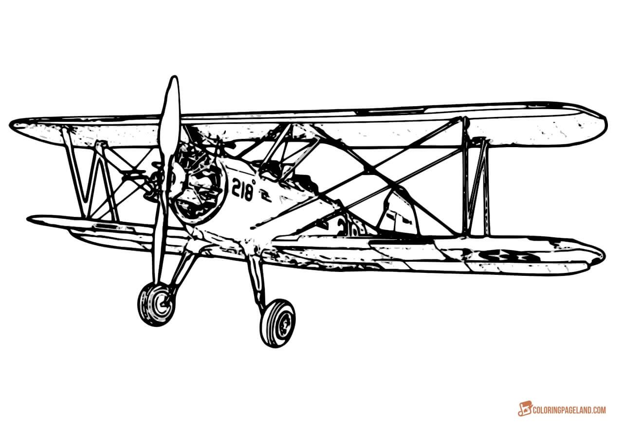 Realistic Old Airplane Drawing