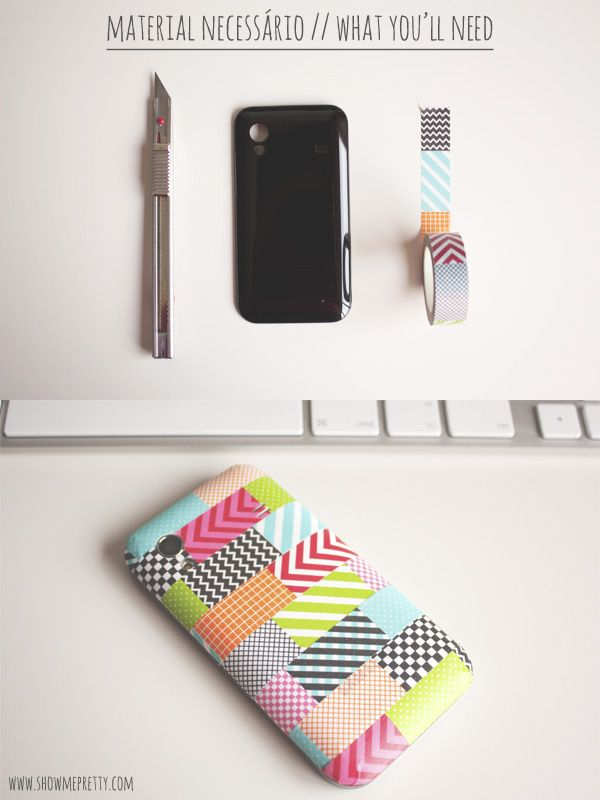 Diy tips washi tape mobile phone cover for the for Washi tape phone case