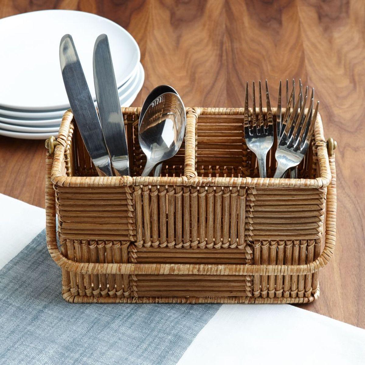 woven rattan caddy kitchen rattan rattan furniture round tray rh pinterest ch