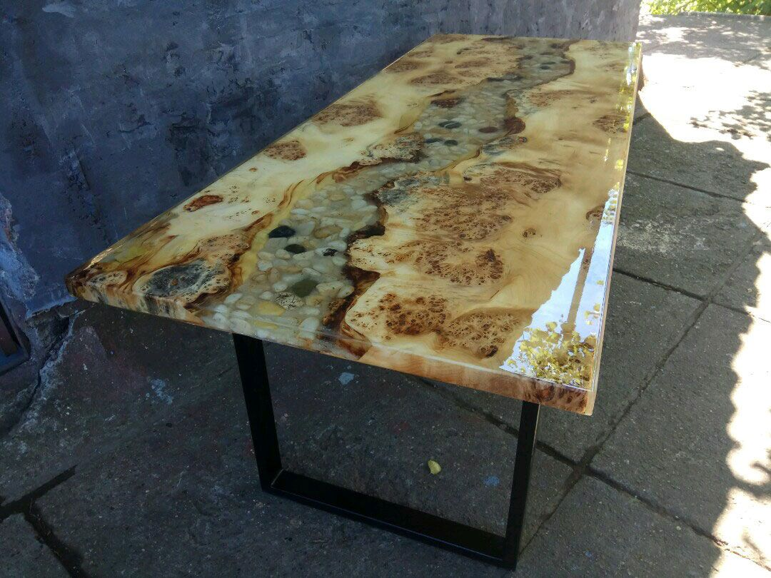 black poplar wood table with river rock resin and led light and rh pinterest com