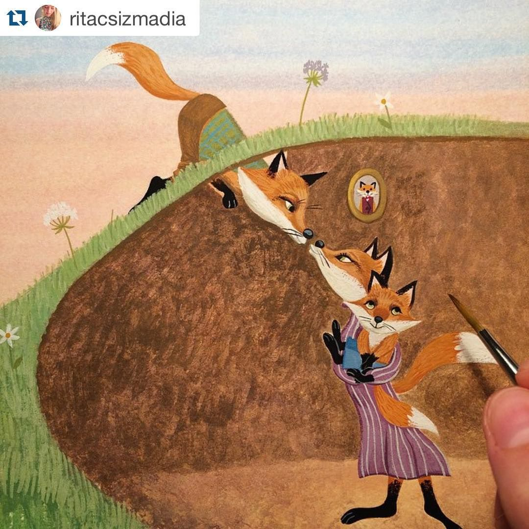 The Children S Writer S Guild On Instagram Repost Ritacsizmadia A Fantastic Mr Fox Painting In The Works Tonight Fox Painting Fox Art Fox Illustration