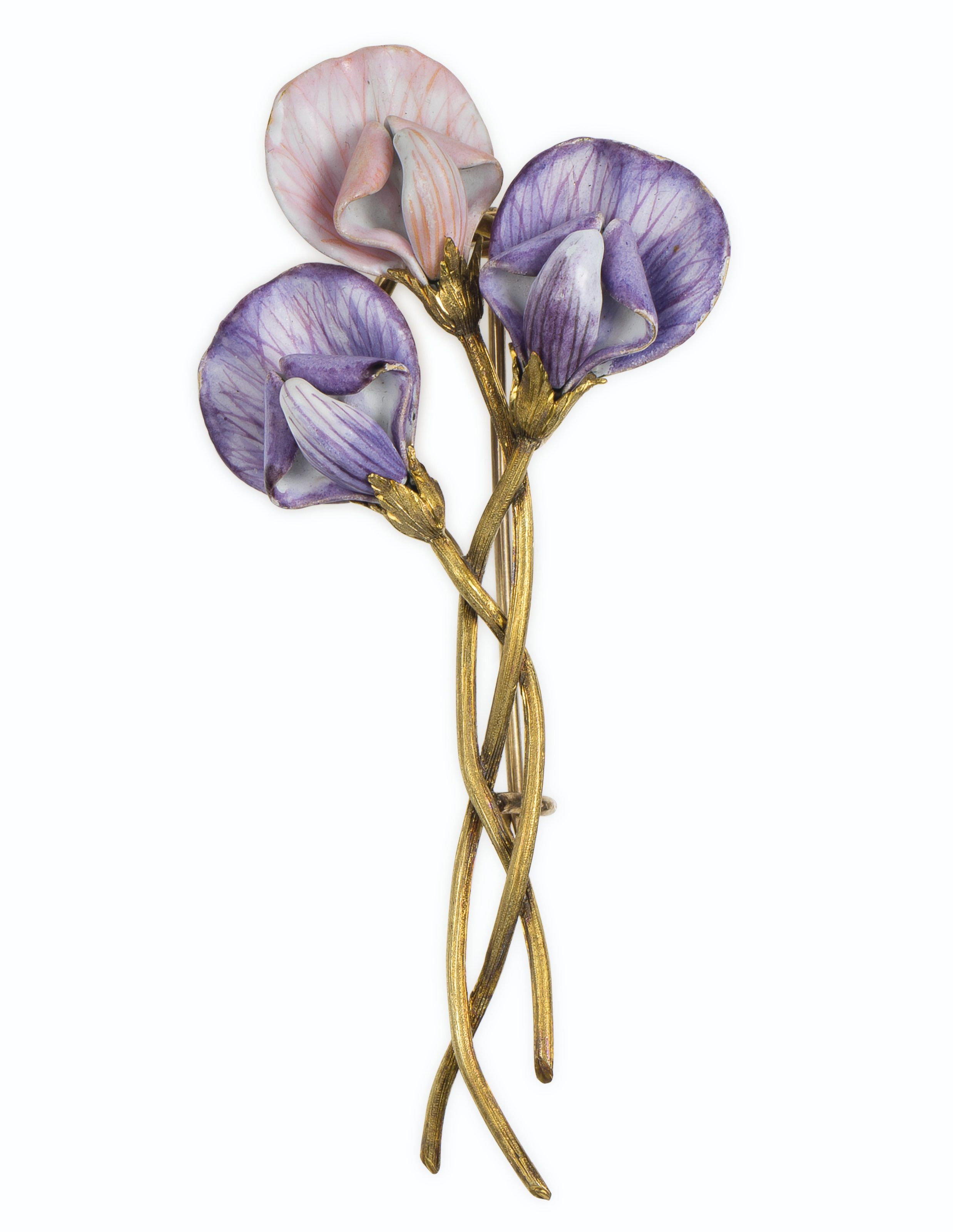 THE PRIVATE COLLECTION OF JOAN RIVERS: AN ANTIQUE GOLD AND ENAMEL FLOWER BROOCH. Designed as three purple and pink enameled iris blossoms, with intertwining gold stems, mounted in gold. Circa 1890's.