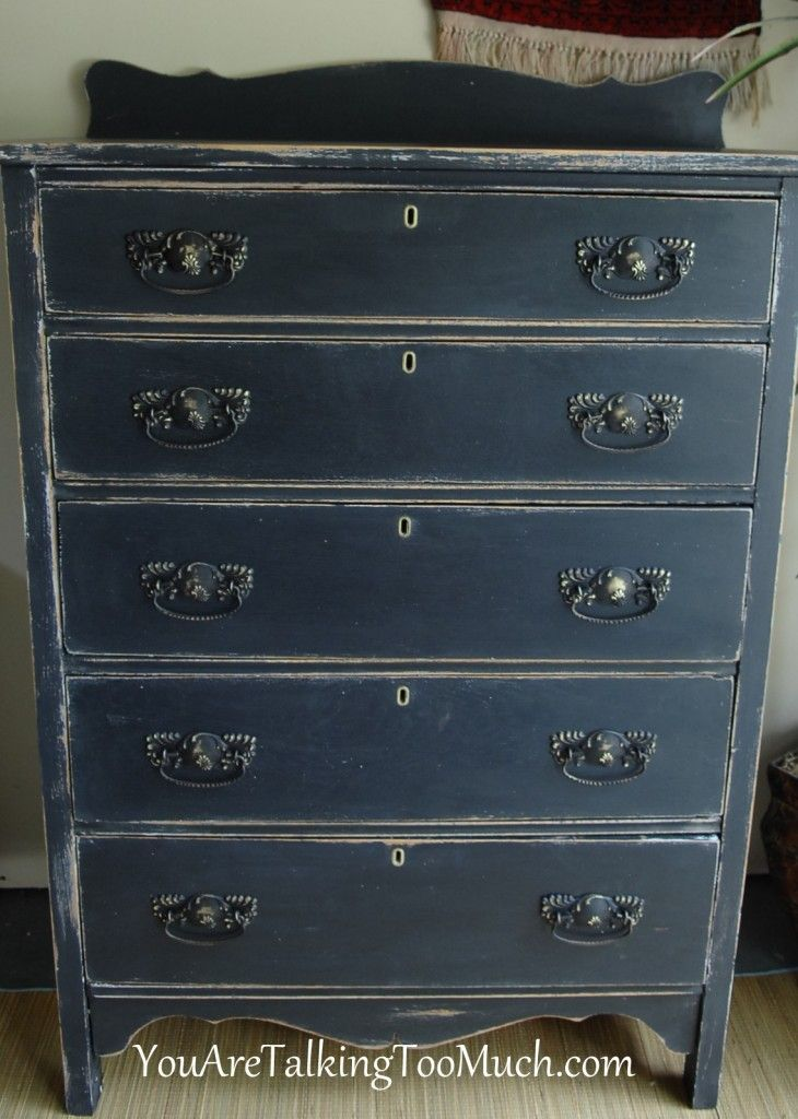 Beautiful Distressed Dresser In Navy Tones Inspiring