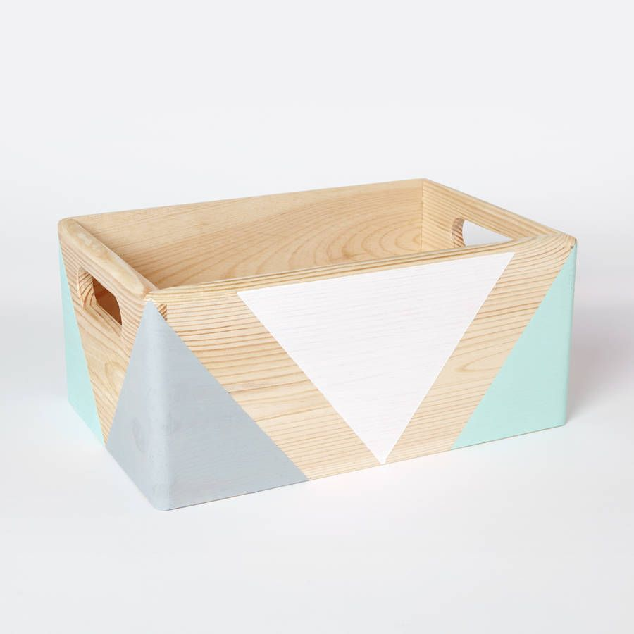 Hand Painted Wooden Storage Box With Handles Each Box Has Been Carefully Hand Painted Bold Geometric Sha Wooden Storage Boxes Wooden Storage Wood Storage Box